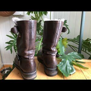 Frye Boots: Natalie Mid Engineer Lug Shearling